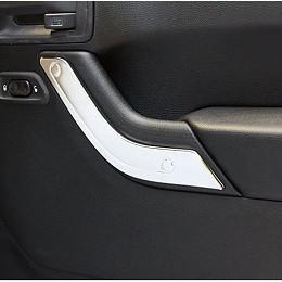 Image of a Jeep Wrangler 2 Door Silver Inner Door Handle Trim Cover Interior