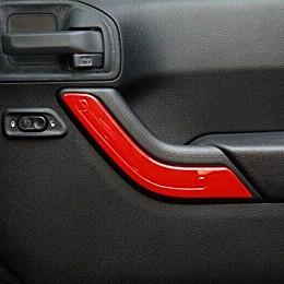 Image of a Jeep Wrangler 4 Door Red Inner Door Handle Trim Cover Interior