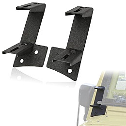 Image of a Jeep Wrangler Windshield A-Pillar Mount Brackets for Dual LED lights