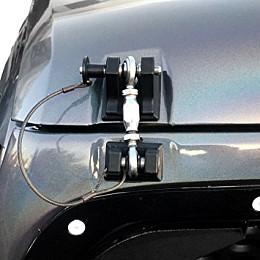 Image of a Jeep Wrangler Retro Style Bonnet lock Catch Kit (Black)