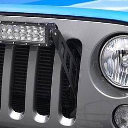 "Image of a Jeep Wrangler 20"" LED Light Bar Bracket Mount Through Grille Grill"