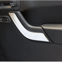 Image of a Jeep Wrangler 4 Door Silver Inner Door Handle Trim Cover Interior
