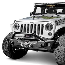 Image of a Jeep Wrangler Jeep JK Wrangler 07~17 TeraFlex Style Black Steel Front Bar 0338