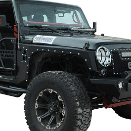Image of a Jeep Wrangler Evolution Style Steel Front Fender Flares Guard