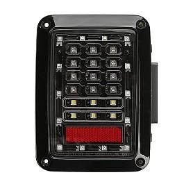 Image of a Jeep Wrangler Pair Black Diamond (2nd Gen) Black LED Tail Lights 0122