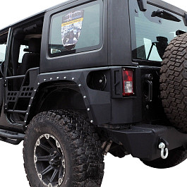 Image of a Jeep Wrangler Evolution Style Steel Rear Fender Flares Guard