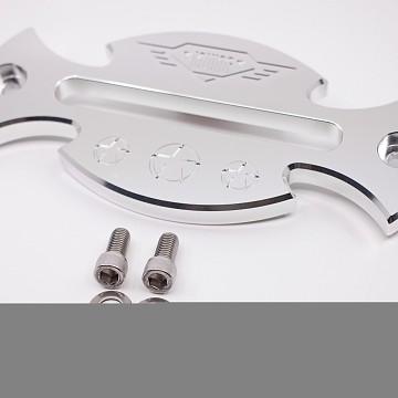 Image of a Jeep Wrangler  Silver Aluminum Hawse Winch Fairlead Cover