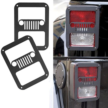 Image of a Jeep Wrangler  Pair Jeep Grille Style Flat Tail Light Cover Light Guard