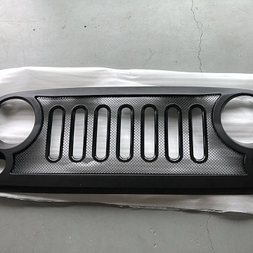 Image of a Jeep Wrangler Angry Grilles ABS Defender Style High Flow Front Grill Grille matte black