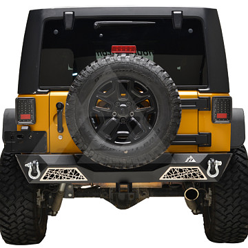 Image of a Jeep Wrangler  web Style rear bumper bar