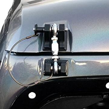 Image of a Jeep Wrangler Bonnets Retro Style Bonnet lock Catch Kit (Black)