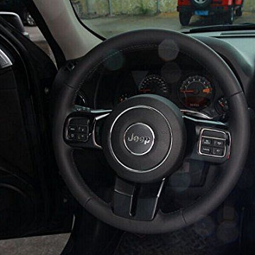 Image of a Jeep Wrangler  3 Pieces Black Steering wheel Cover Trim