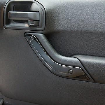 Image of a Jeep Wrangler  4 Door Black Inner Door Handle Trim Cover Interior