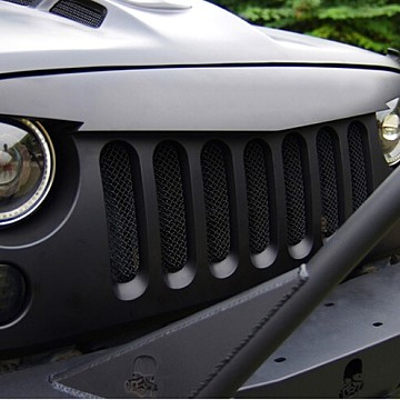 Image of a Jeep Wrangler Angry Grilles Angry Bird Grille V-Shape Matte Black with Mesh