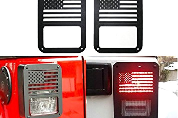 Picture of a Pair American Style Flat Tail Light Cover Light Guard